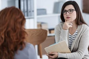 woman at a dialectical behavior therapy program